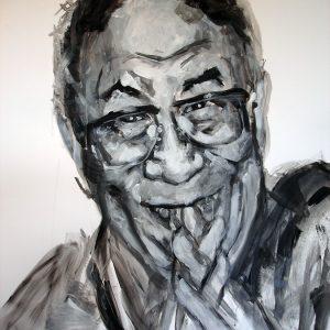 Penpaints Portret H.H. Dalai Lama  Gouche Op Papier Apd 2013