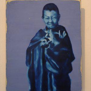 Penpaints Portret Sogyal Rinpoche Als Kind  Olieverf Op Hout 25x35cm Apd2006