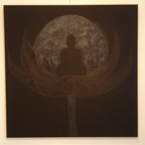 'Black Buddha' - Mixed Media Op Doek - 110x110cm - Apeldoorn 2007