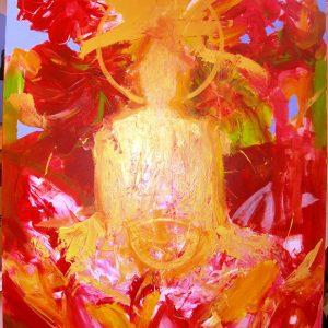 Penpaints Schilderij Golden Buddha 120x95cm Apd2007