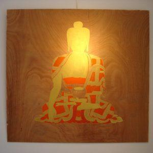 'Golden Buddha' - Olieverf Op Paneel - 110x110cm - Apeldoorn 2007