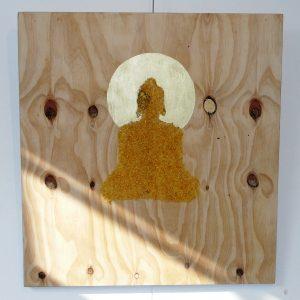 Penpaints Schilderij'Rice Buddha'  Rijst Goudverf Op Paneel  50x75cm Apd2007
