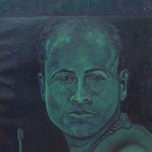 Penpaints Zelfportret Met Electrische Tandenborstel Olieverf Op Doek 50x70cm Apd2001