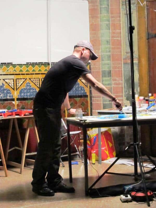 penpaints-Live decor schilderen bij multidiscilinaire voorstelling Vondelkerk -Amsterdam 2012.