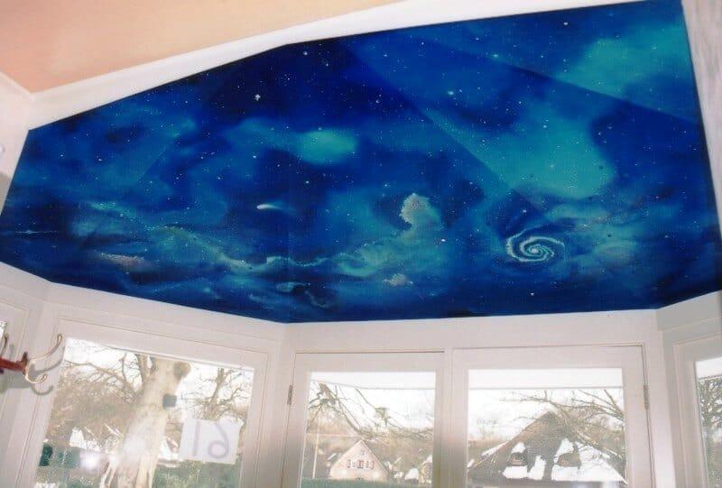 penpaints- Plafondschildering 'Kosmos'-olieverf op geschakeerd hout-Laren1998