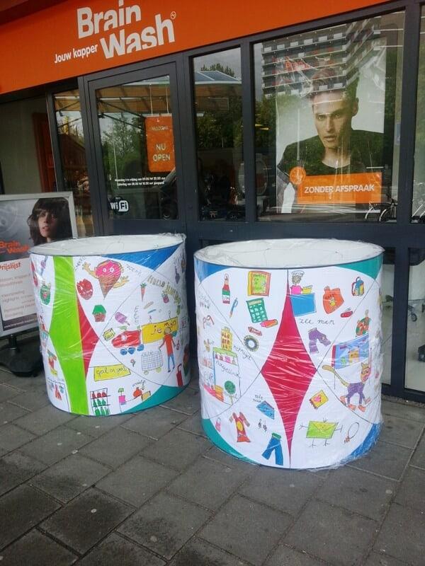 penpaints-Zon op Zuid- Lampekappen zijn geleverd in winkelcentrum Elderveld- Arnhem2013
