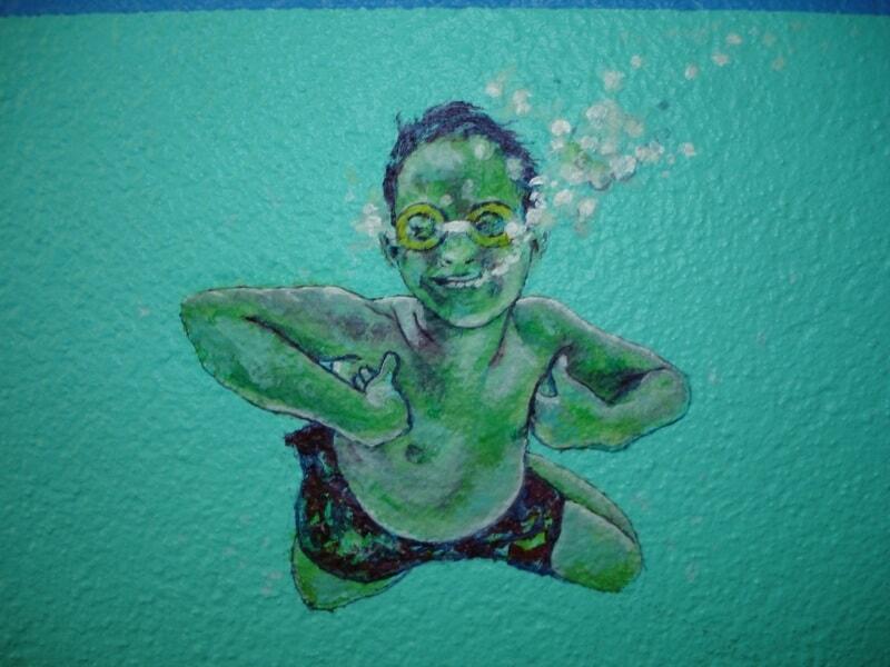 Jongen onderwater, Trappenhuis Gentiaanflat - Mijn flat is een Zee, Apeldoorn 2005