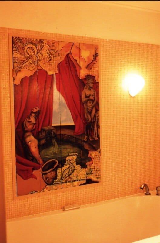 penpaints- vierluik raam badkamer- familie Meekhof- 1995